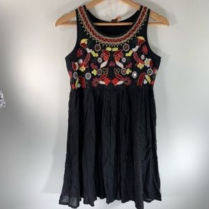 RAGA Anthropologie boho mini dress embroidered